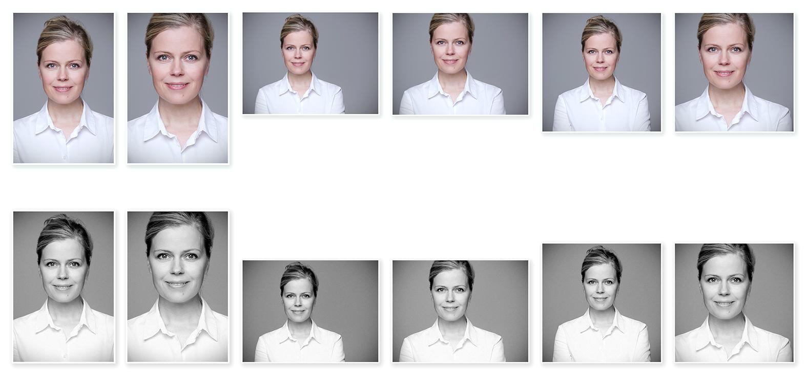 Bewerbungsfotos mehrere Ausschnitte in Farbe und schwarz-weiß Profilbild