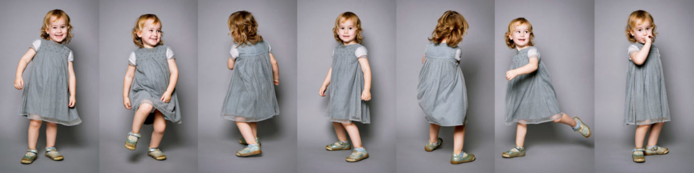 Geschichten als Collagen 7 Kinderfotos kleines tanzenden Mädchen Dortmund Fotograf Fotostudio