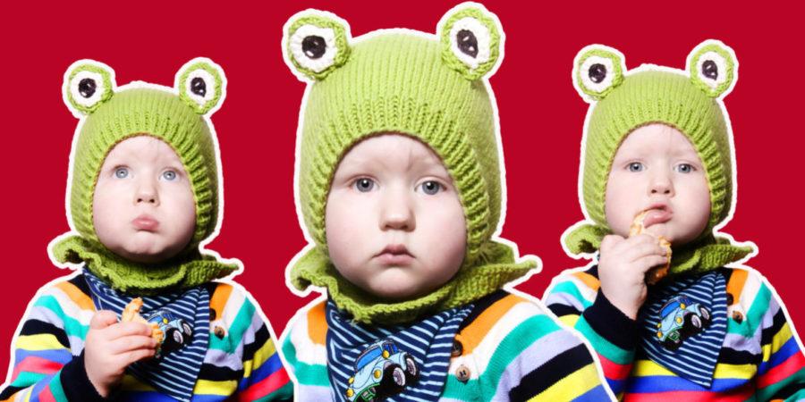 Geschichten als Collagen kleiner Junge mit Froschmütze Fotograf Fotoshooting