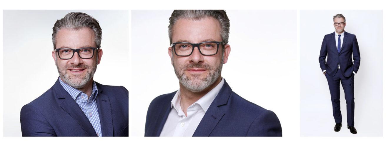 Bewerbungsfotos Dortmund. Professionelle Karrierefotos Frau. Mann mit Brille und Bart Collage aus 3 Bewerbungsbildern