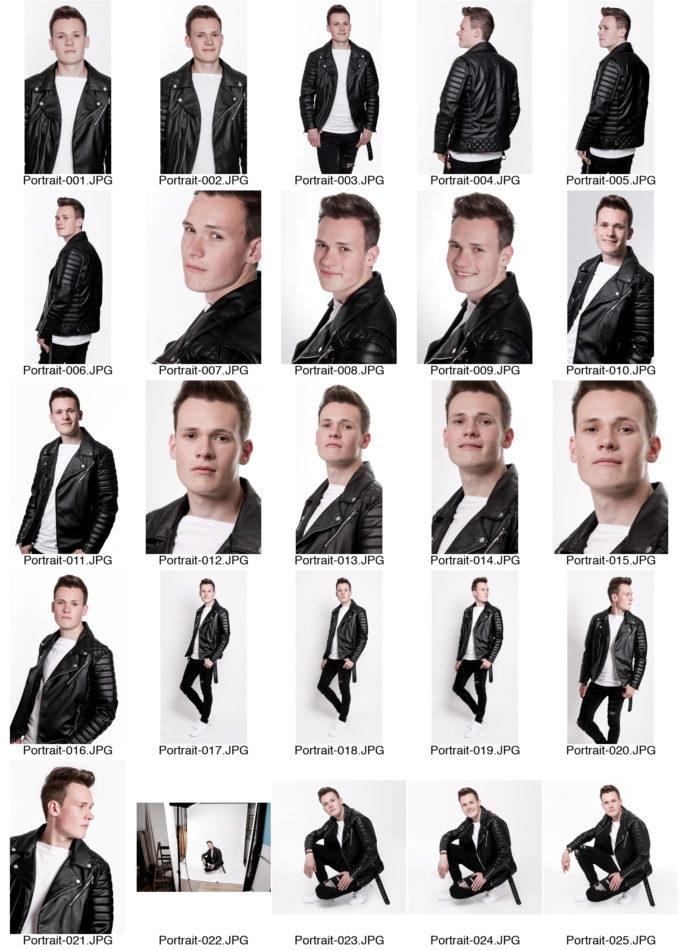 Kontaktabzug Portraitserie Mann Portraitsfotos viele kleine Bilder zur Auswahl schwarze Lederjacke heller Hintergrund Fotograf Dortmund