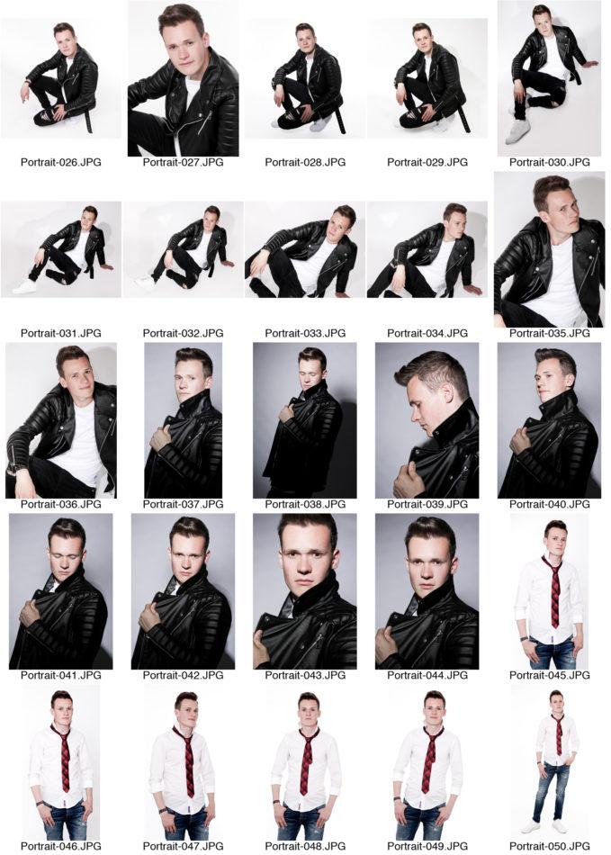 Kontaktabzug Portraitserie Mann Portraitsfotos viele kleine Bilder zur Auswahl weißer Hintergrund Fotografin Dortmund