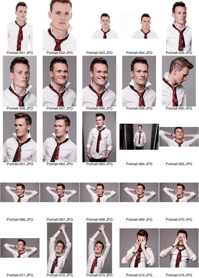 Kontaktabzug Portraitserie Mann Portraitsfotos viele kleine Bilder zur Auswahl weißes Hemd rote Krawatte heller Hintergrund Fotostudio Dortmund
