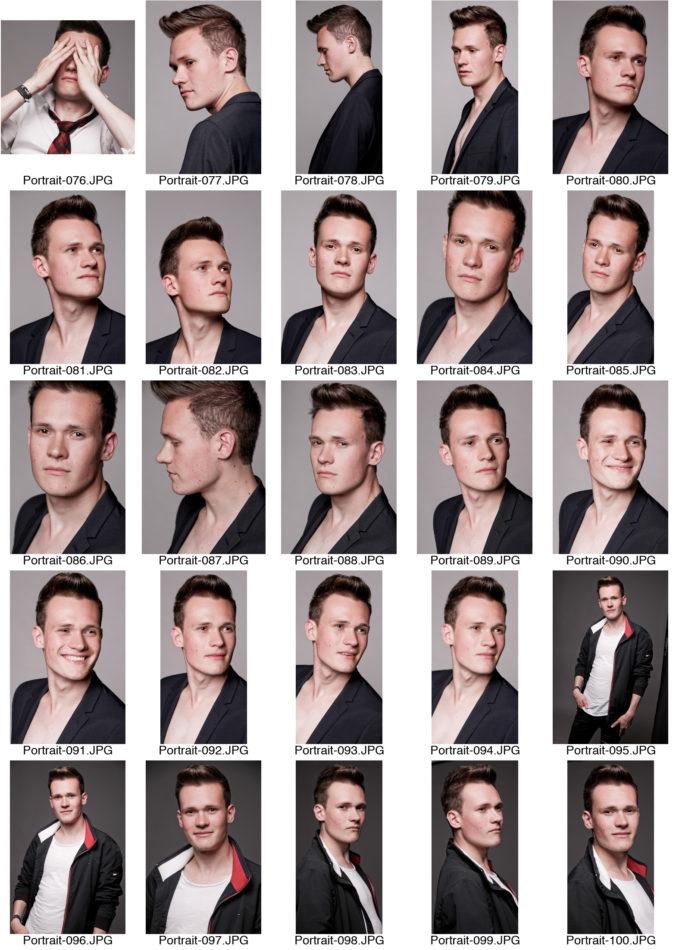Kontaktabzug Portraitserie Mann Portraitsfotos viele kleine Bilder zur Auswahl Jacket hellgrauer Hintergrund