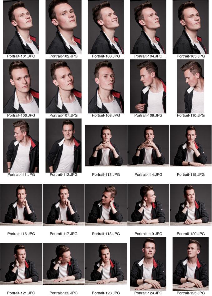 Kontaktabzug Portraitserie Men Charakter viele kleine Bilder zur Auswahl dunkle Jacke grauer Hintergrund