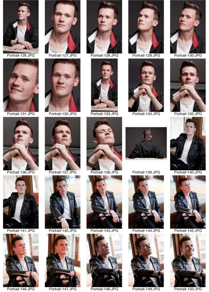 Kontaktabzug Portraitserie Mann Portraitsfotos viele kleine Bilder zur Auswahl Lifestyle an einer Tür Hintergrund