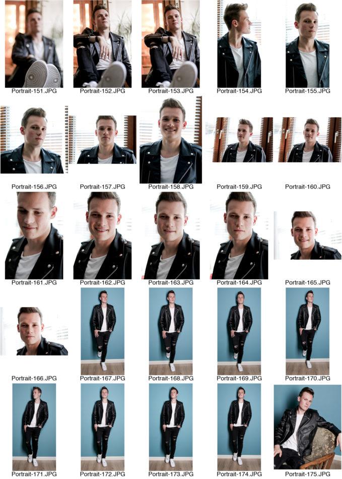 Kontaktabzug Portraitserie Mann Portraitsfotos viele kleine Bilder zur Auswahl an einem Fenster Lifestyle