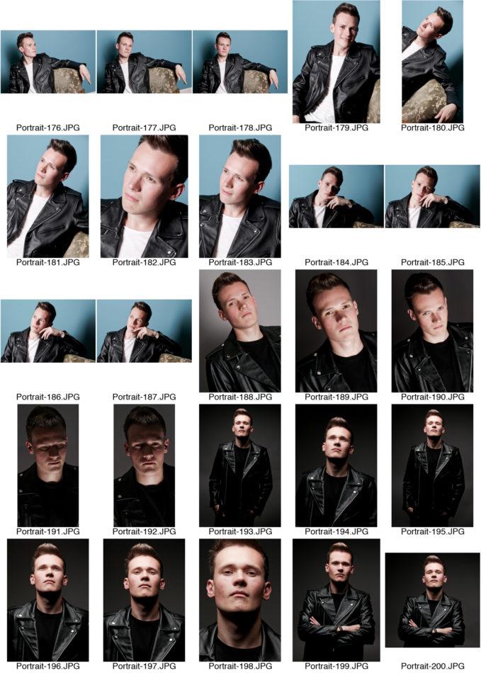 Kontaktabzug Portraitserie Charakter Männer Portrait viele kleine Bilder zur Auswahl Lederjacke auf Sessel dunkler Hintergrund