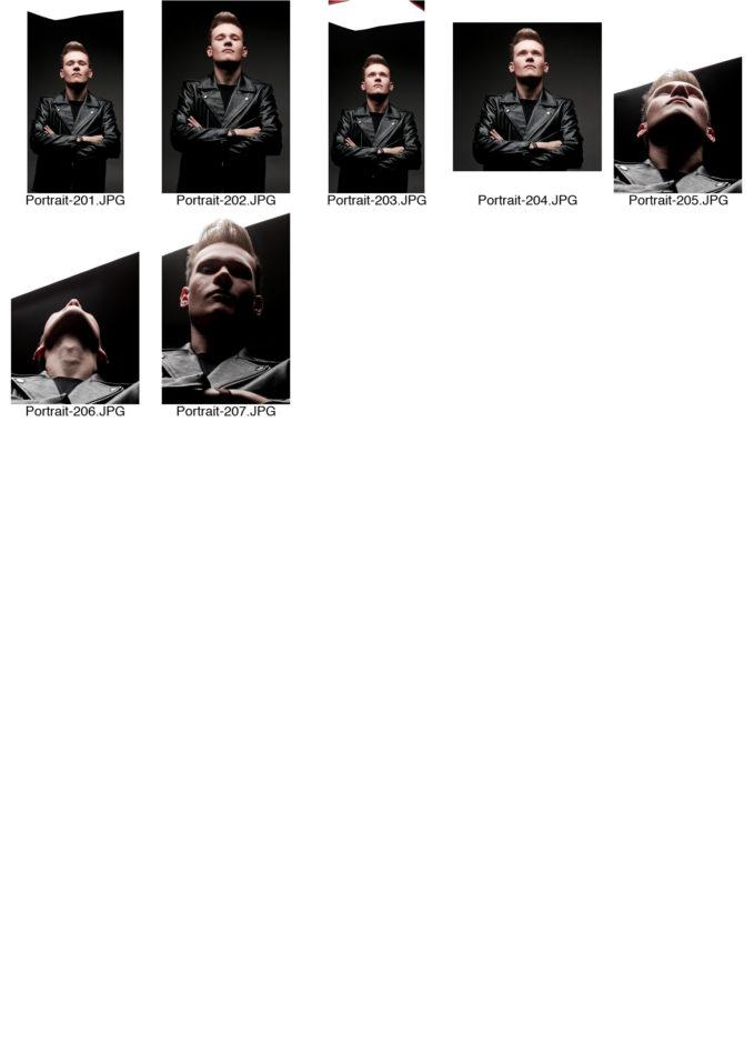 Kontaktabzug Portraitserie Portraitsfotos viele kleine Bilder zur Auswahl Lederjacke Licht von oben