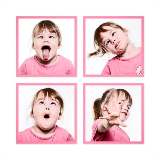 Collage Storyboard Kinderfotos lustige Gesichter Dortmund Fotograf Fotostudio Fotoshooting dürfen Fotografen arbeiten