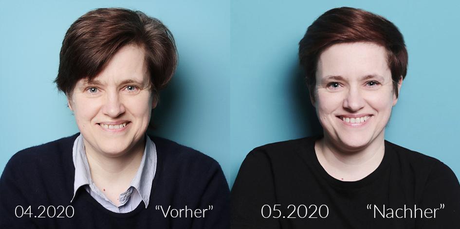 Portrait Fotografie 2 Bilder einer Frau als Collage Fotograf Fotostudio Dortmund