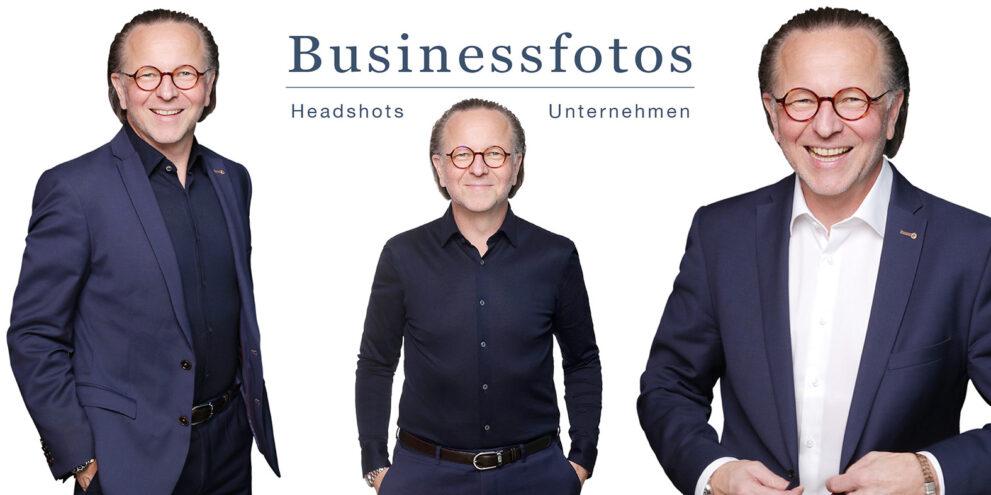 Businessfotos Mann in blauer und weißer Kleidung