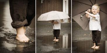 Kinderfotos Collage 3 Bilder eines Jungen mit Regenschirm Triptychon