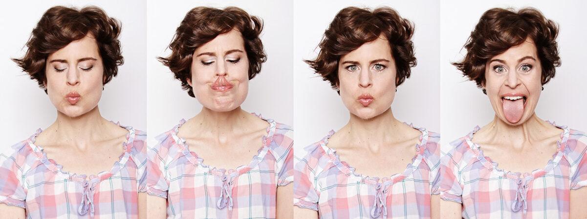 Fotograf Collage Frau 4 Fotos Mimikfotos